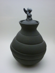 Black Urn with Angel Side View