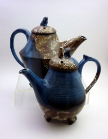 Blue and Reticulating Glaze Teapots
