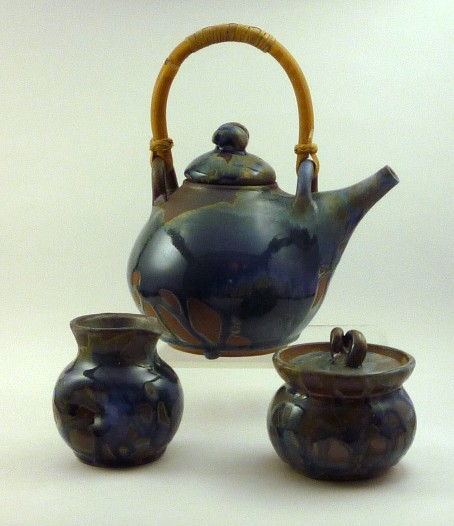 Blue with cane handle tea set