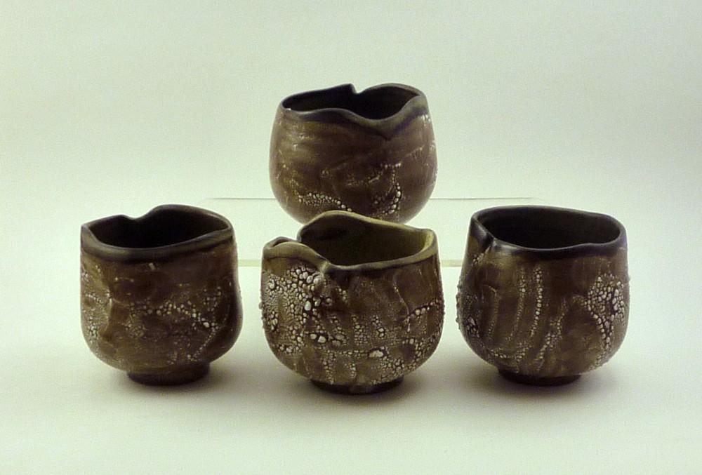Reticulating glaze teabowls